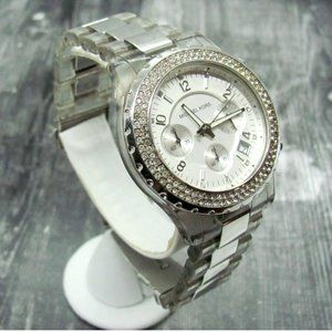 MICHAEL KORS Clear Plastic and Silver-tone Watch